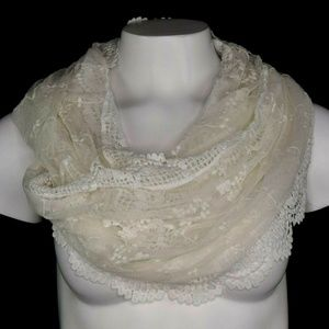 Inc Womens Floral Tool Lace Infinty Scarf
